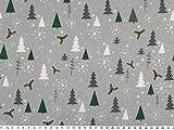 ab 1m: Weihnachtsstoff, Tannenbäume,grau-grün, 140cm