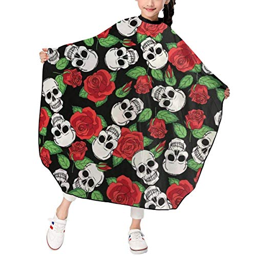 Skull Skeletons and Roses Kids Haircut Barber Cape Salon Cape Cover para corte de cabello, peinado y champú 39x47in