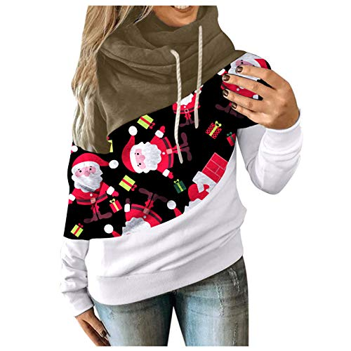 Women Color Block Sweatshirt Autumn Winter Hooded Pullover Tops Lightweight Casual Contrast Long Sleeve Hoodie Tunic(A-Brown,XXXL)