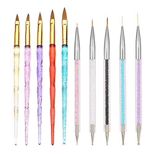10PCS Nail Art Brush Set, Anself 5Pcs /10/11/13/15/20mm Nail Art Acrylique UV Gel Extension Builder Acrylique Brosse Cristal Poignée + 5pcs Nail Art Peinture Brosse 7/9/11/15/20mm Cristal Acrylique