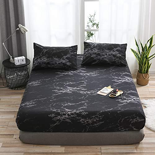 haiba Juego de sábanas y fundas de almohada de franela de algodón cepillado suave, extra profundas, tamaño individual, doble, superking, 99 x 190 x 35 cm