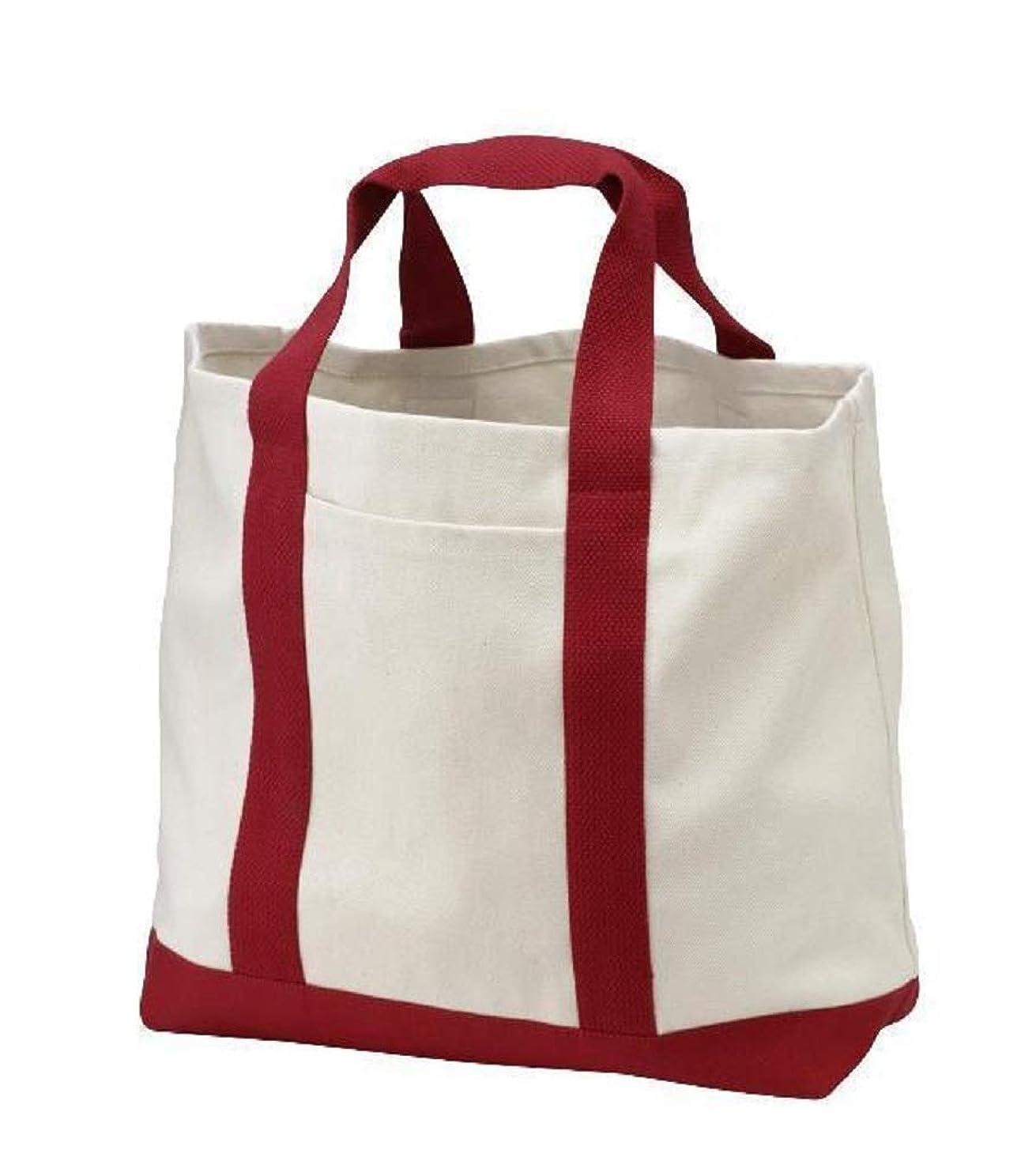 数学知覚するこするTBF Bags 再利用可能な食料品のトートバッグ フロントポケット付き 高耐久 キャンバス ショッピングトート ビーチ、旅行、ピクニックに L レッド