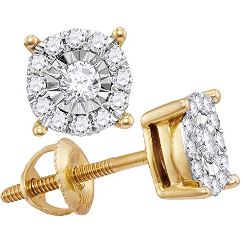 10kt oro amarillo para mujer redondo solitario diamond cluster Stud Pendientes 1/4quilates
