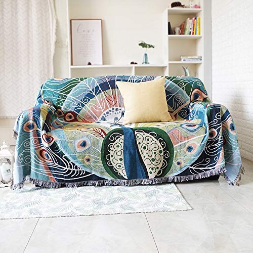 kangzhiyuan Manta de punto para sofá de punto, funda protectora de ante con borla antideslizante de algodón, manta tejida (tamaño: 130 x 160 cm)