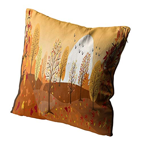 Docady 26 x 26 Inch Square Pillowcase Autumn Landscape Mountains Maple Trees Leaves Falling Bicycle in Yellow Decorative Cushion Cover Printing Pillowcase Home Sofa Living Room Bedroom