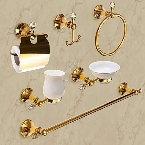 Shop Chic - Set Accessori da Bagno 6 Pezzi Oro con Cristalli Stile Swarovski Luxury Finitura Francese Classico Barocco Completo da Parete Kit Bagno Completo Porta Asciugamani lavabo Bidet Sapone