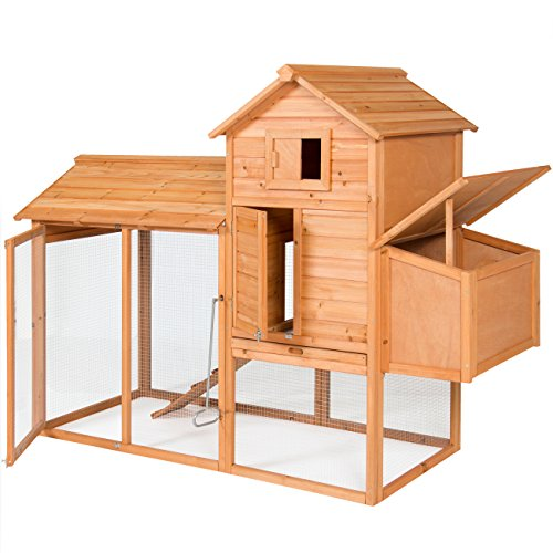 Best Choice Products Outdoor Wooden Chicken Coop Wire Fence Hen House Poultry Cage, 80in, Brown, for 4 Birds