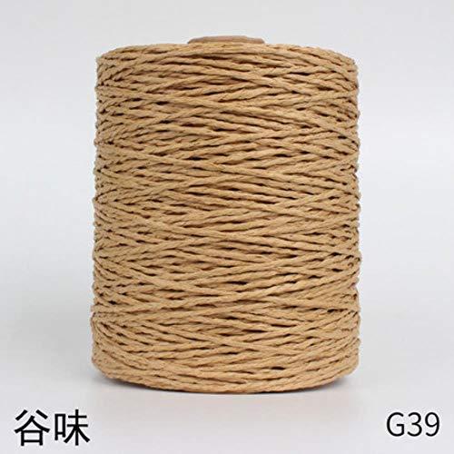 1 Rollo de Hilo de Paja de Rafia Hilo de Ganchillo para Tejer DIY Sombrero de Paja de Verano Bolsos Cojines Cestas Material Hilo de Tejer, G39