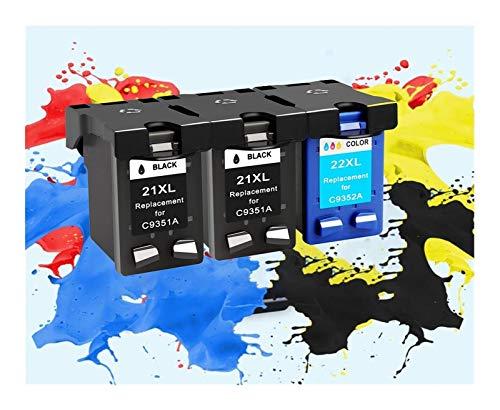 ZIJ Reemplazo rellenados de Cartuchos de Tinta for HP 21XL for HP 22 21 for HP21 Deskjet F2180 F2280 F4180 F4100 F2100 F2200 (Color : 2bk 1color)