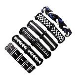 Pulsera Brazalete, Regalo De La Joyería,6 Pcs/Set Wax Rope Braided Bracelet Men Women Vintage Jewley Punk Black&White Genuine Leather Bracelet Bangles Personality Gifts