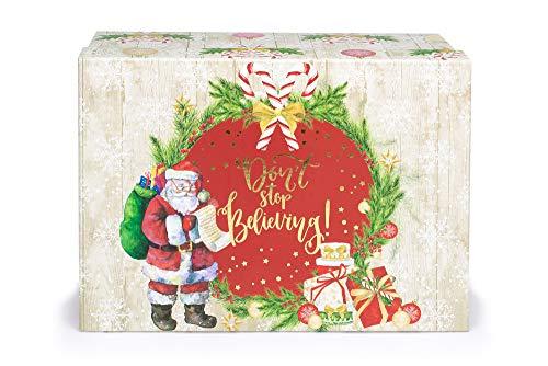 Tri-Coastal Design - Scatola per Addobbi di Natale, Contenitore di Cartone Decorato con Colori e Stili Natalizi (The Magic of Xmas)