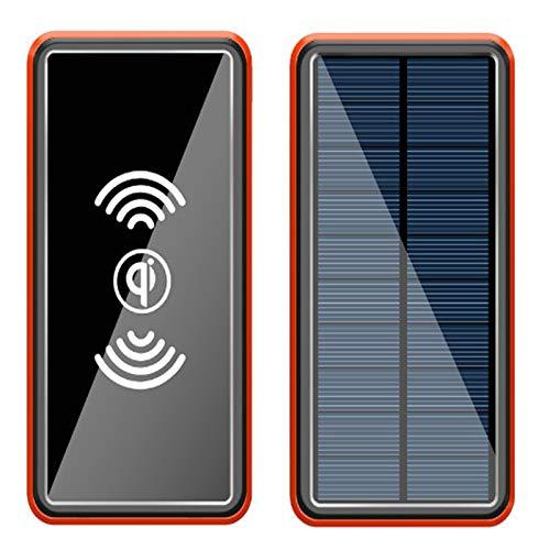 Wttfc Wireless Power Bank 50000Mah Caricabatterie Solare Powerbank, con 4 Ingresso E 5 Uscite E LED Luce, Batteria Esterna Compatibile con iPhone Samsung iPad Smartphones, Tablet E Altri,Arancia