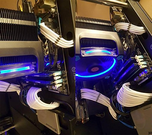 upHere Sleeved Cable - Kabelverlaengerung für die Stromversorgung mit extrahoeller 24 Pin / 8pin (4+4) M/B, 8pin (6+2) 50cm Verlängerungskabel Kit Weiss,SC504