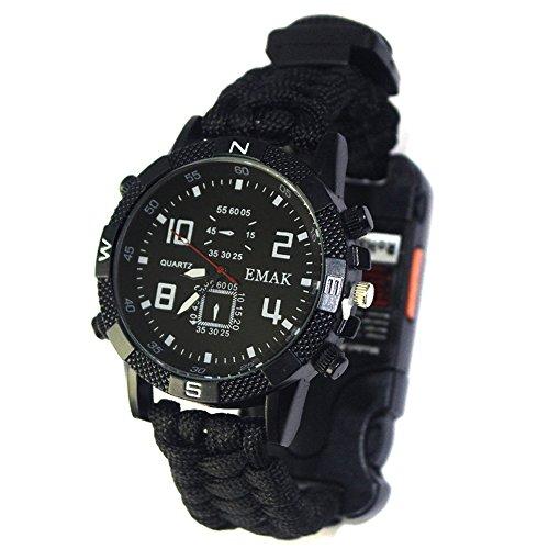 LYCOS3 Survival-Armbanduhr, Outdoor, Camping, Survival, Kompass, Armbanduhr, 6 in 1 Multifunktions-Armbanduhr, Pfeife, Thermometer, Seilparacord, Schaber, Notfallausrüstung, Schwarz , Free Size