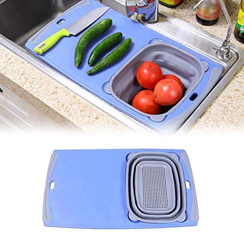 LYMUP Tabla de Cortar Madera Multifuncional 3 en 1 Tabla de Cortar Desmontable del DREN del plegamiento Cesta Fregadero Herramientas de Corte Junta Cocina Profesional (Color : B)