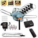 Five Star [Newest 2020] HDTV Antenna Amplified Digital Outdoor Antenna 150 Miles Range, 360 Degree Rotation Wireless Remote, with 40FT RG6 Coax Cable Installation Kit Supports 5 TVs