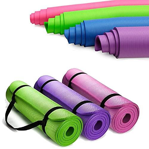 Alfombrilla deportiva antideslizante AOOF de 15 mm de grosor, de alta densidad, respetuosa con el medio ambiente, adecuada para pilates, fitness y ejercicio, práctica esterilla de yoga (verde)
