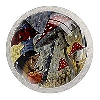 4パックキッチンキャビネットノブ、ドレッサー引き出し用ノブ 動物の雨の日 ドアハンドルを引く