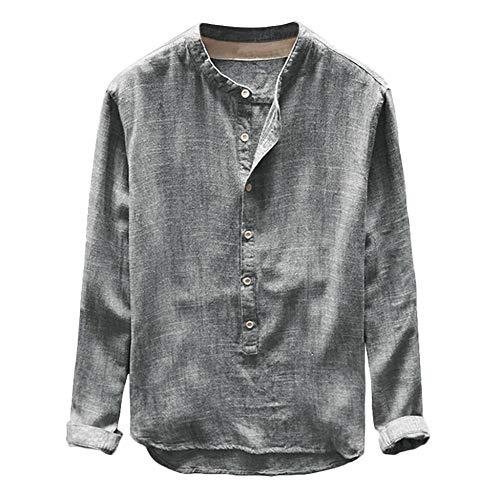 YFSLC-Studio Chemise Homme Manches Longues, Mens Fashion Slim Fit Automne Hiver Sweatshirt Décontracté Bouton en Lin Et Coton Chemisier Long Sleeve Top Sweatshirt Oversized,L