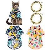 CJCSM Ropa para Perros, 2 Piezas, Camisas Hawaianas para Mascotas, Camisas Frescas para Cachorros, Verano, Playa, Mascotas, Perros, Gatos, Camisetas, Ropa para Perros