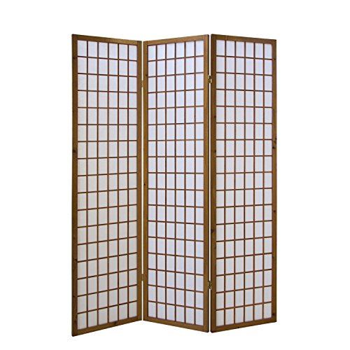Homestyle4u 161, Paravent Raumteiler 3 teilig, Holz Braun Tabak, Reispapier Weiß, Höhe 175 cm