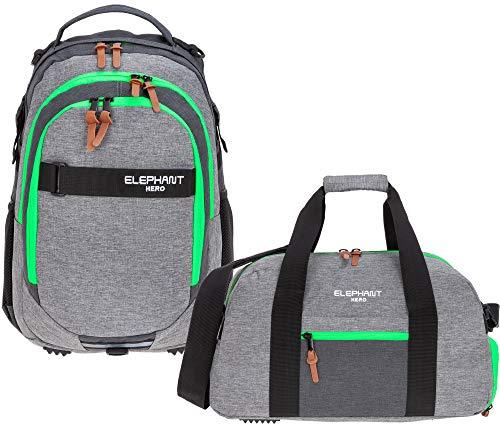 2 Teile Set Elephant Rucksack Hero Signature Schulrucksack Jungen Mädchen mit Sporttasche 12723 rs (Two Tone Green (grau/grün))