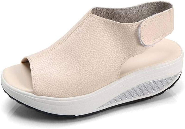 T-JULY Women Vintage Wedges Platform shoes Peep Toe Sandal High Heels Fish Toe shoes Summer Female Sandals