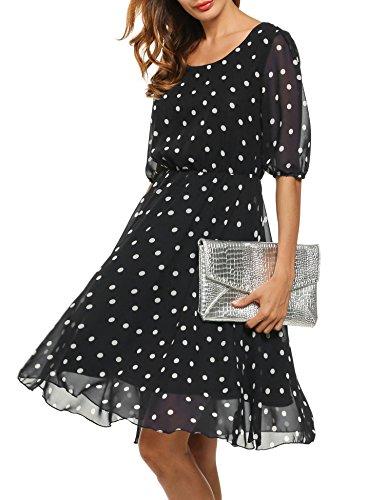 Meaneor Damen Elegantes Sommerkleid mit Tupfendessin transparentes Halbarm Chiffon Knielang festliches Kleid Cocktail Party in Schwarz 38 M