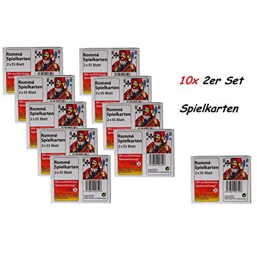 1a-becker 10x Romme speelkaarten elk 2X 55 vellen spel kaarten Frans blad met speelhandleiding