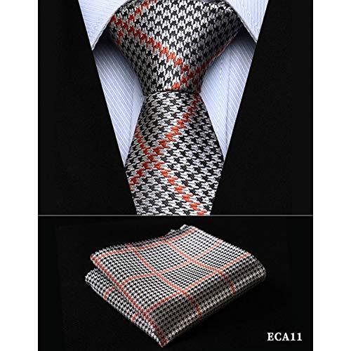"""Preisvergleich Produktbild KYDCB Check 2, 17""""Seide gewebt schlanke dünne schmale Männer Krawatte Krawatte Taschentuch Einstecktuch Anzug Set"""