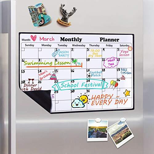 Homein Magnetischer Monatskalender 2020 Magnettafel Kalender Abwischbar Kühlschrank Monatlicher Whiteboard Planer 2020 Dry Erase Memo Einkaufsliste in Küche Schreibtafel für Kinder 43 x 30 cm