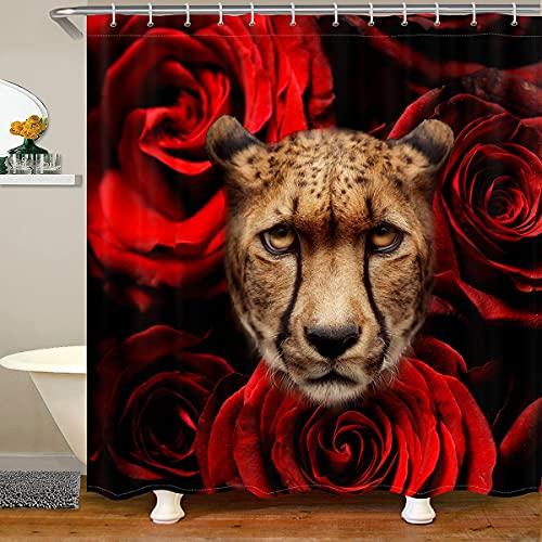 Loussiesd Mädchen Leopard Stoff Duschvorhang Textil Rose Gepard Dekor Duschvorhang 180x180cm für Kinder Jungen Frauen 3D Tier Thema Wasserdicht mit 12 Haken Luxus Romantische Rote Blumen