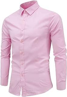 Mens Formal Basic Dress Shirts Long Sleeve Button Solid Shirt Casual Slim Fit Blouse Top Zulmaliu