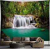 HIYOO Home Tropical Waterfall Tapestry with Non-trace Tacks, Nature Mountain Jungle Green Tree Tapestry Wall Hanging Zen Wall Tapestries Decor for Dorm Bedroom,Living Room, Wall Background 90'W x 71'L