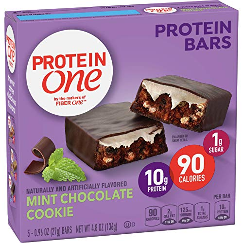 Fiber One 90 Calorie Protein Bars, Mint Chocolate Cookie, 5 ct (Pack of 12)