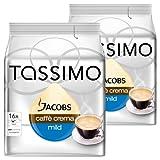 Tassimo Jacobs Caffè Crema Velvety & Mild, Pack of 2, 2 x 16 T-Discs