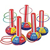 Gamie Inflatable Ring Toss Game Super Fun Outdoor Games for Kids & Adults - 5 15 Inch Tall Inflate Bases, 5 Flexible Rings and 5 Sturdy Rings - Best Birthday Party Activity Boys and Girls