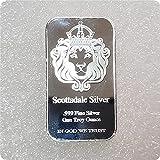 Scottsdale Silver 999 Fine Silver One Troy Once 1 Bars Bullion in God We Trust Coin avec...