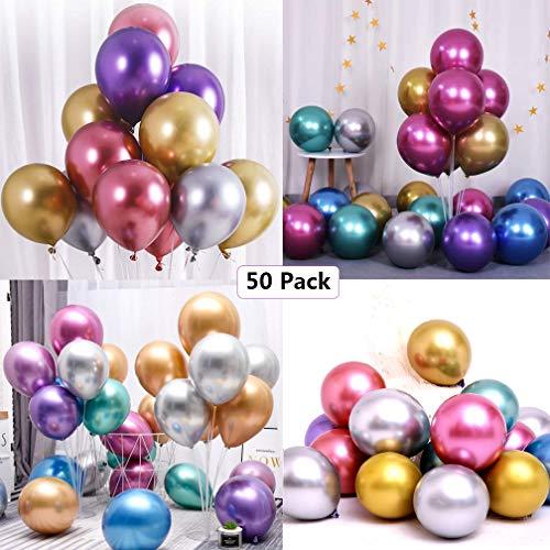 Luftballons Metallic Geburtstag, 50 Stück Glänzendes Luftballons Helium, Latexballons Partyballon Ballons Metallic für Geburtstagsdeko, Baby Shower, Babypartys, Hochzeitsdeko, Party Dekoration