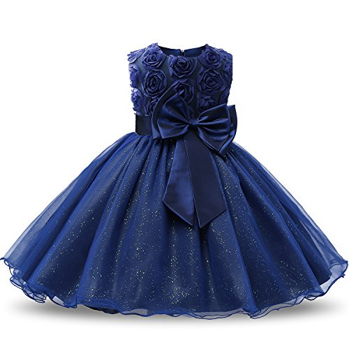 NNJXD Vestido de Fiesta de Princesa con Encaje de Flor de 3D sin Mangas para Niñas Talla(90) 12-18 Meses Azul Oscuro