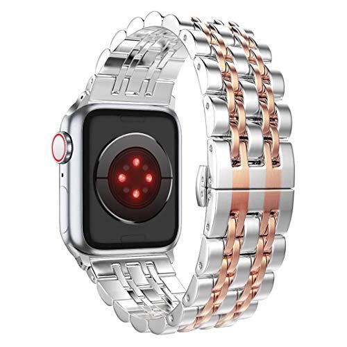 PUGO TOP Cinturino compatibile con Apple Watch, cinturino in acciaio inossidabile 316L con design classico a 7 lame e chiusura a farfalla per iWatch Serie 5 4 3 2 1, Oro rosa, 42mm/44mm