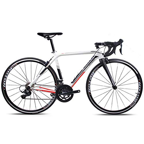 Xiaoyue Adult Rennrad, Profi 18-Speed Racing Fahrrad, Ultra-Light Alurahmen Doppel-V Bremse Rennrad, ideal for die Straße oder Schmutz Trail Touring, Weiss, TA30 lalay (Color : White, Size : X6)