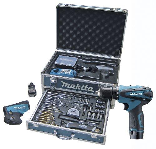 Makita DF330DWEX3 Taladro atornillador 2x10,8V 1,3Ah Li + 59 accessorios + Maletin de aluminio