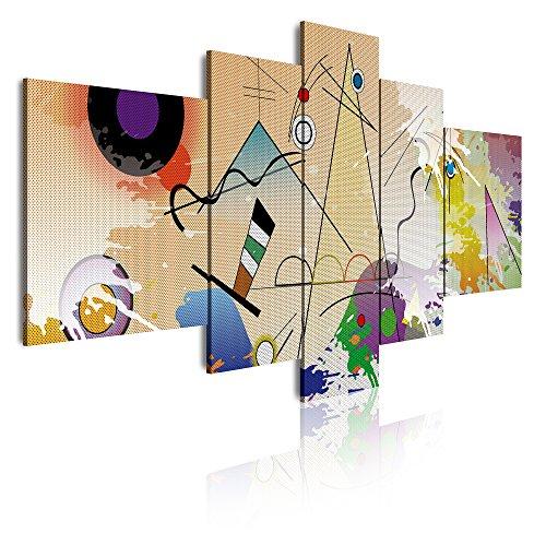 DekoArte 418 - Cuadros Modernos Impresión de Imagen Artística Digitalizada | Lienzo Decorativo para Salón o Dormitorio | Estilo Abstractos Moderno Kandinsky Arte Colores Beig | 5 Piezas 180x85cm XXL
