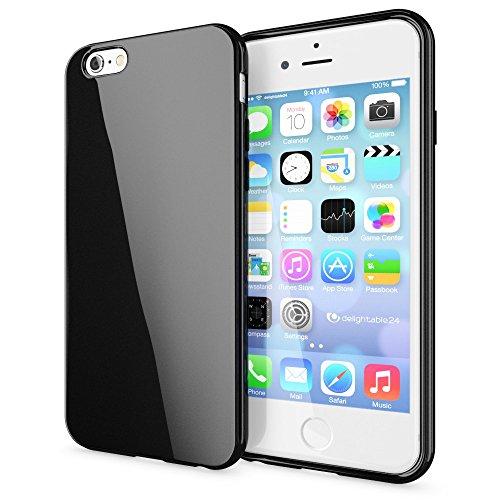 NALIA Custodia compatibile con iPhone 6S Plus 6 Plus, Cover Protezione Ultra-Slim Case Protettiva Morbido Cellulare in Silicone Gel, Gomma Jelly Telefono Bumper Sottile - Nero
