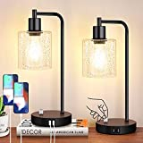 Set of 2 Fully Stepless Dimmable Industrial Table Lamps with 2 USB Ports & AC Outlet, Bedside...