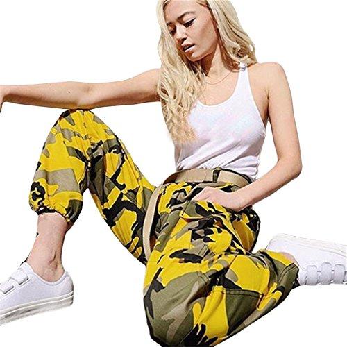 Vovotrade dames jersey-broek in sport-stijl dames sweatbroek met manchetten vrouw sport camo lading broek buiten casual camouflage broek jeans, Size:M, geel
