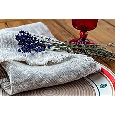 Set of 2 Linen Kitchen Towels Dish Cloth Stone Washed Towels in Ivory and Grey Size 17'' x 27''  Pure Linen with High Absorption, Soft Fabric and Lint-Free Safe for Machine Wash Drying