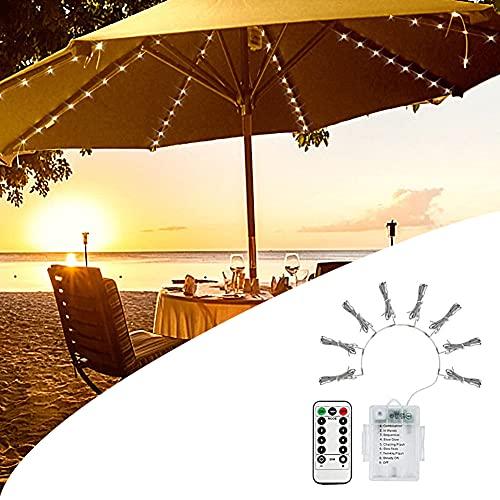 XCUGK Cadena de Luz para Sombrilla de Patio 104 Luces LED Exteriores con Control Remoto en Modo 8 Cadena De Luz Impermeable para Parasol Jardín al Aire Libre Camping Tiendas de Campaña