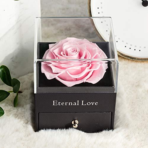 Rosa Real preservada con Collar I Love You Caja de Regalo, Rosa eterna para el día de San Valentín, día de la Madre, Aniversario de Bodas, Regalo de cumpleaños para Ella-Rosado